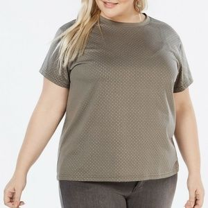 Say What? Trendy Plus Size Studded T-Shirt Size 3X